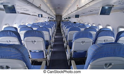 Empty aircraft cabin during flight