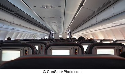 Empty airplane seats. airplane seats. Inside the plane....