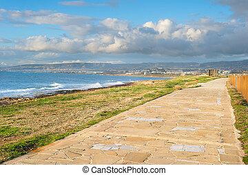 Empty alley sea coast Cyprus