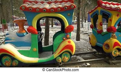 Empty amusement park in winter