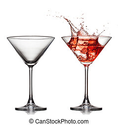 empty an? full martini glass with red cocktail with splash ...