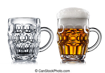 Empty and full beer in glass isolated on white