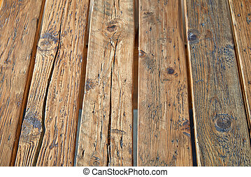 Empty and rustic wooden plank table