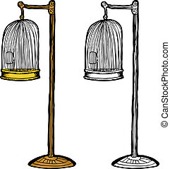 Empty Antique Bird Cage - Single empty birdcage in gold and...