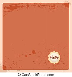 Empty antique page with wax stamp seal. Old terracotta paper background with light cream stamp. Vector illustration