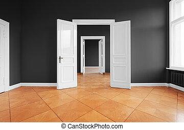 empty apartment room with open doors and parquet floor -