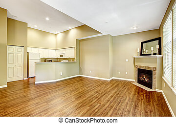Empty apartment with open floor plan. Living room with fireplac