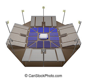 empty arena boxing view from above 3d rendering