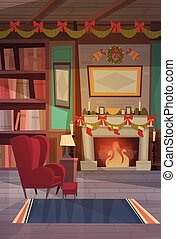 Empty Armchair Near Decorated Fireplace , Home Interior Decoration For Christmas And New Year Holidays Concept