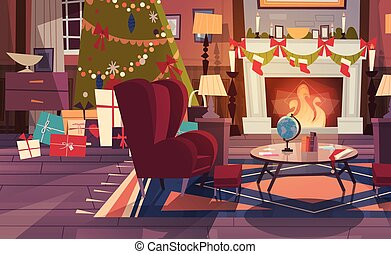 Empty Armchair Near Decorated Pine Tree And Fireplace , Home Interior Decoration For Christmas And New Year Holidays Concept