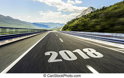 Empty asphalt road and New year 2018. - 2018 New Year...