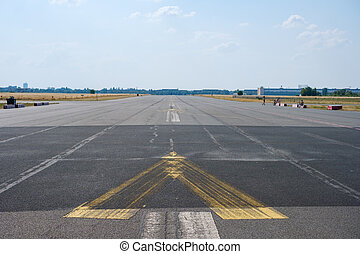 empty asphalt road / runway on former airport in Berlin