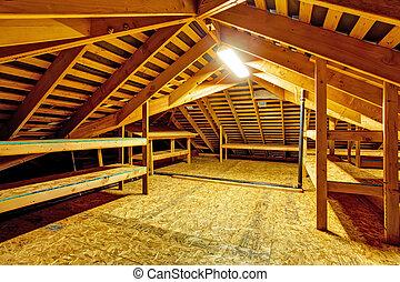 Empty attic with storage shelves - Attic interior in empty ...