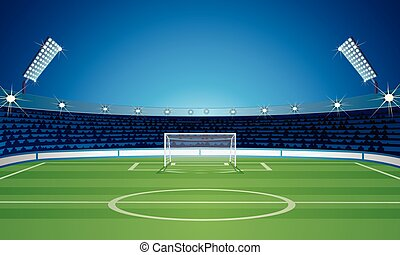 Empty Backdrop Template with Empty Soccer Field Stadium. Vector Image