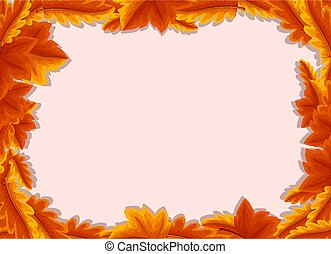 Empty background with autumn leaves frame template