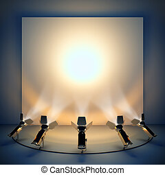 Empty background with stage spotlight. A 3d illustration blank template layout of presentation wall.