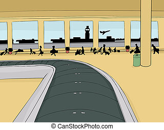 Empty Baggage Carousel with Crowd - Empty baggage carousel...
