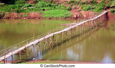empty bamboo bridge, luang prabang, laos