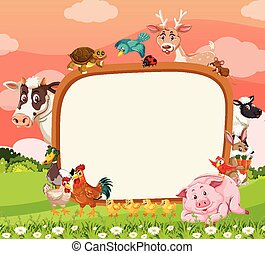 Empty banner with various farm animals in the forest