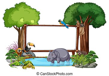 Empty banner with wild animals and rainforest trees on white background
