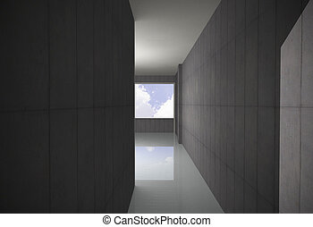 Empty Bare Concrete Corridor