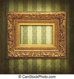 Empty baroque golden frame