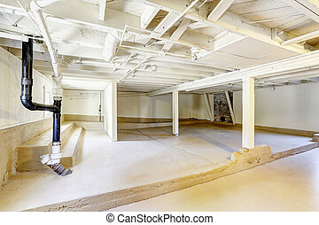 Empty basement in american house