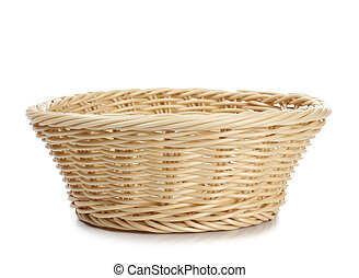 Empty basket - Empty wicker basket on a white background