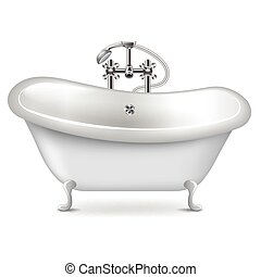 Empty bath isolated on white vector