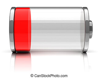 empty battery 3d icon illustration