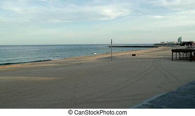 Empty beach and sea during Lockdown, Barcelona, Spain - ...