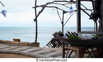 Empty Beach Restaurant. Bad Weather and Low Season on Tropical Island.
