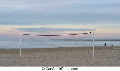 Empty beach volleyball court - Wide shot of an empty beach...