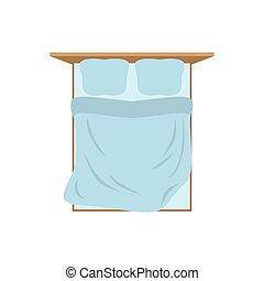 Empty Bed top view isolated. Pillow and blanket. Tucked Double bed on white background