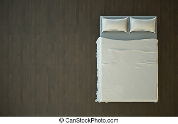 Empty bed - Top view of an empty bed with white bedding. 3D...