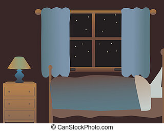cartoon room with bed, dresser, window, dresser, lamp open curtains