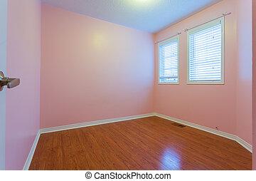 Empty Bedroom in pink color - Empty Bedroom after renovation...