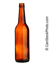 Empty beer bottle isolated over white background