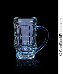 Empty beer glass isolated on black background.