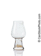 Empty Beer glass with drops
