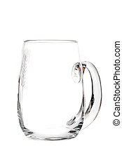 Empty beer glass with handle isolated
