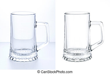 Empty beer mug isolated on white background