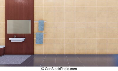 Empty beige tiles wall in modern bathroom interior - Modern...