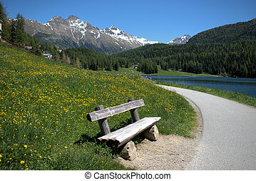 Empty bench at the lake of Saint Moritz in Switzerland 27.5.2020