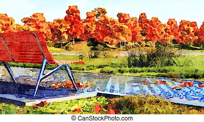 Empty bench in autumn park watercolor landscape - Watercolor...