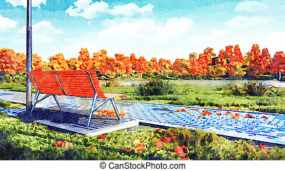 Empty bench in autumn park watercolor landscape