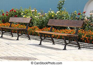 Empty bench in the park - Stylish empty bench in the city...