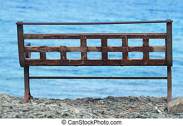 Empty bench on the Mediterranean Sea in Antalya