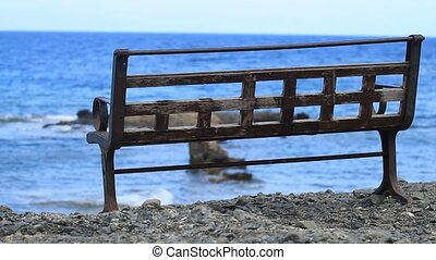 Empty bench on the Mediterranean Sea in Antalya, Phaselis.