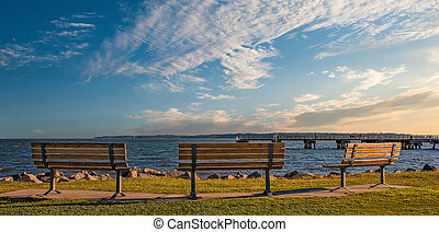 Empty Benches at the Sea